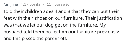 Text - Iamjune 4.1k points 11 hours ago Told their children ages 4 and 8 that they can put their feet with their shoes on our furniture. Their justification was that we let our dog get on the furniture. My husband told them no feet on our furniture previously and this pissed the parent off.