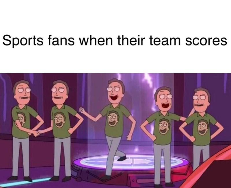 Animated cartoon - Sports fans when their team scores ED) (eD)