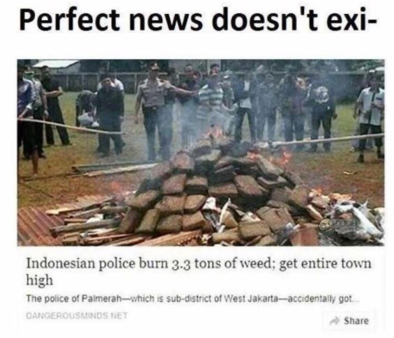 Transport - Perfect news doesn't exi Indonesian police burn 3.3 tons of weed; get entire town high The police of Palmerah-which is sub-district of West Jakarta-accidentally got... DANGEROUSMINDS NET Share
