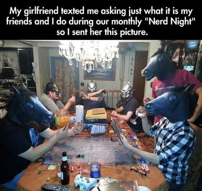 """Community - My girlfriend texted me asking just what it is my friends and I do during our monthly """"Nerd Night"""" so I sent her this picture."""