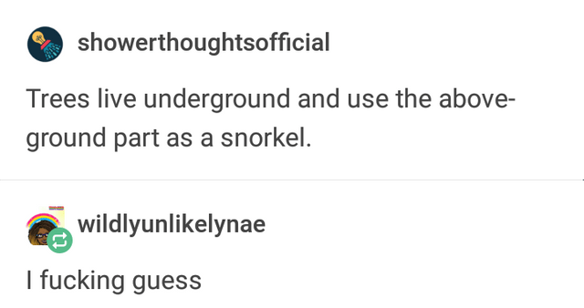 literal joke - Text - showerthoughtsofficial Trees live underground and use the above- ground part as a snorkel. wildlyunlikelynae I fucking guess