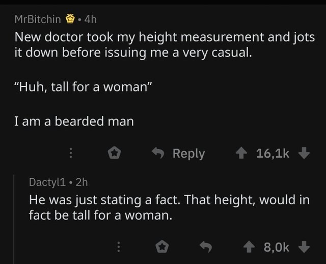 "literal joke - Text - MrBitchin 4h New doctor took my height measurement and jots it down before issuing me a very casual. ""Huh, tall for a woman"" I am a bearded man Reply 16,1k Dactyl1 2h He was just stating a fact. That height, would in fact be tall for a woman. 8,0k"
