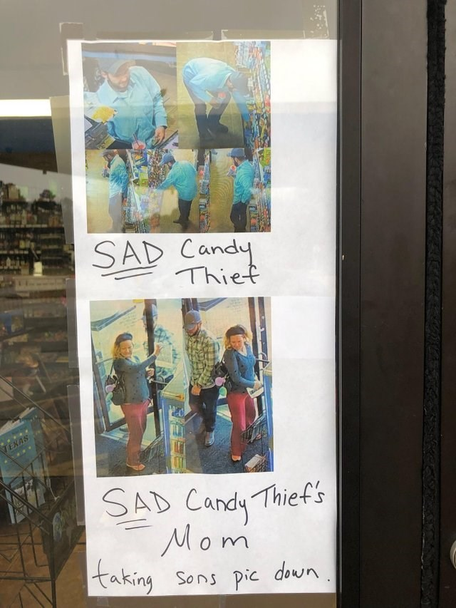Text - SAD Candy Thiet TEXAS SAD Candy Thief's Mom taking Sons pic down