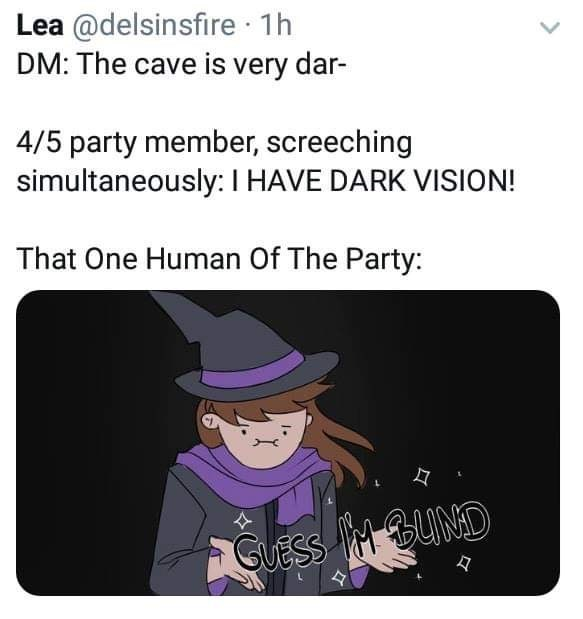 Cartoon - Lea @delsinsfire 1h DM: The cave is very dar- 4/5 party member, screeching simultaneously: I HAVE DARK VISION! That One Human Of The Party: GUESS BUND