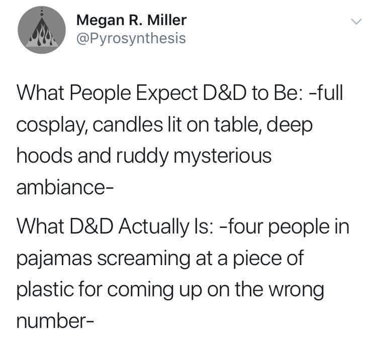 Text - Megan R. Miller @Pyrosynthesis What People Expect D&D to Be: -full cosplay, candles lit on table, deep hoods and ruddy mysterious ambiance- What D&D Actually Is: -four people in pajamas screaming at a piece of plastic for coming up on the wrong number-