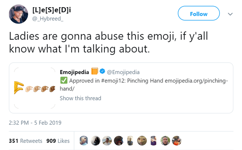 Text - [LJe[SJe[Dli @_Hybreed Follow Ladies are gonna abuse this emoji, if y'all know what I'm talking about. @Emojipedia Emojipedia | Approved in #emoji12: Pinching Hand emojipedia.org/pinching- hand/ Show this thread 2:32 PM - 5 Feb 2019 351 Retweets 909 Likes