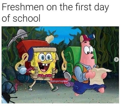 Animated cartoon - Freshmen on the first day of school egingertugboot