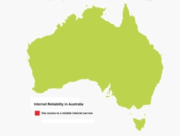 Map - Internet Reliability in Australia Has access to a reliable internet service