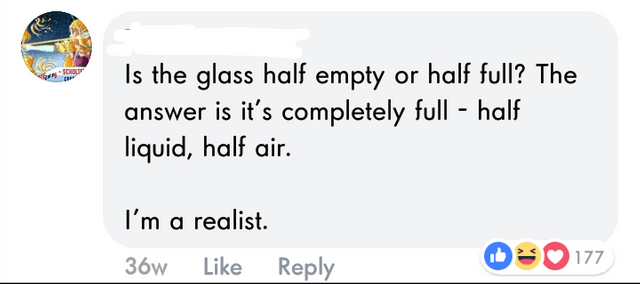 Text - Is the glass half empty or half full? The answer is it's completely full - half liquid, half air. SCHOL I'm a realist. E177 Like 36w Reply