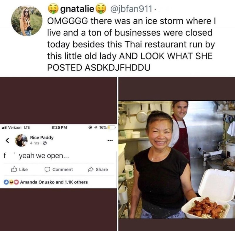 "Owner of a Thai restaurant posts on Facebook ""F*ck yeah we open"" during an ice storm"