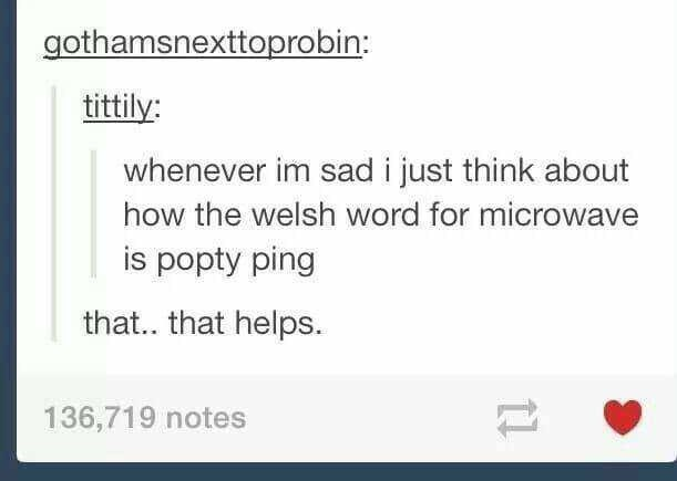 "Tumblr post that reads, ""Whenever I'm sad I just think about how the Welsh word for microwave is 'popty ping;'"" someone comments below, ""That...that helps"""