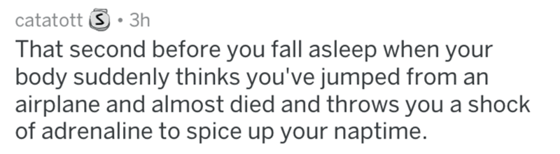 Text - catatott S 3h That second before you fall asleep when your body suddenly thinks you've jumped from an airplane and almost died and throws you a shock of adrenaline to spice up your naptime.