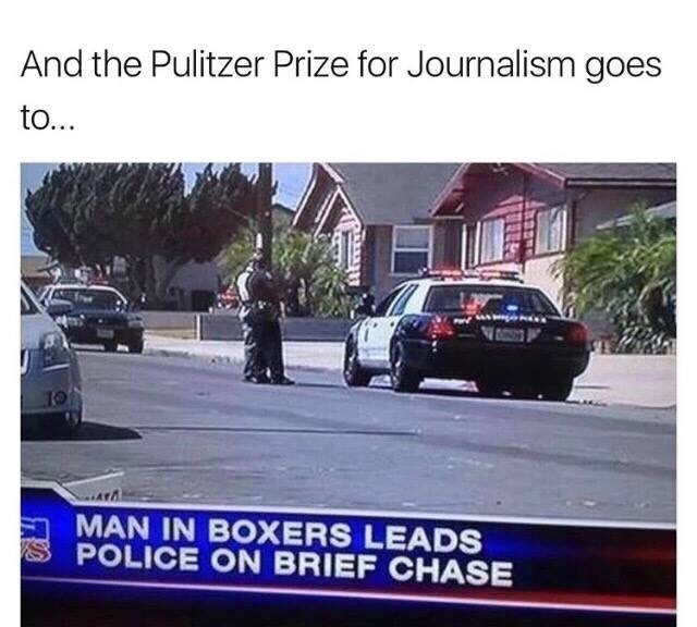 """pointless meme of a news channel writing """"brief chase"""""""