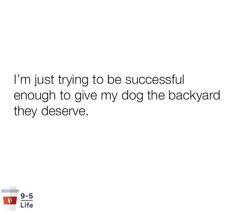 pointless meme about wanting to give your dog the yard he deserves