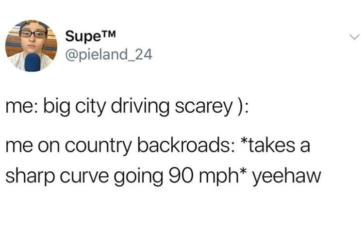 Text - SupeTM @pieland_24 L me: big city driving scarey): me on country backroads: *takes a sharp curve going 90 mph* yeehaw