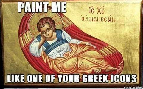 """Ancient Greek painting with text caption that reads, """"Paint me like one of your Greek icons"""""""