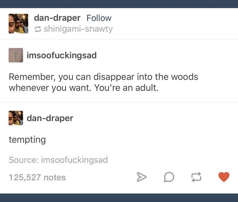 Text - dan-draper Follow shinigami-shawty imsoofuckingsad Remember, you can disappear into the woods whenever you want. You're an adult. dan-draper tempting Source: imsoofuckingsad 125,527 notes