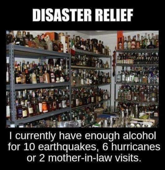 Product - DISASTER RELIEF I currently have enough alcohol for 10 earthquakes, 6 hurricanes or 2 mother-in-law visits.