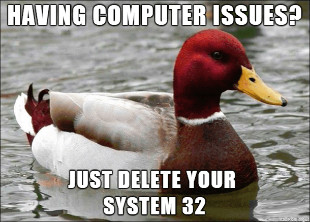 Bird - HAVING COMPUTER ISSUES? JUST DELETE YOUR SYSTEM 32 made cn irvgu