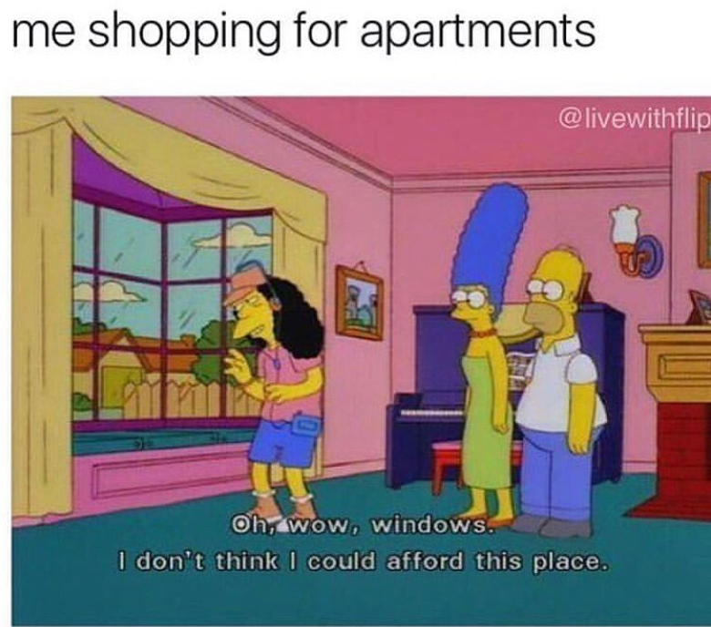 Funny meme about renting apartments.