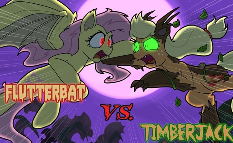 flutterbat applejack timberwolves stranger danger fluttershy - 9269347328