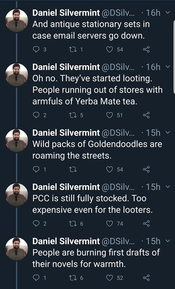twitter thread seattle snow storm And antique stationary sets in case email servers go down. Oh no. They've started looting. People running out of stores with armfuls of Yerba Mate Wild packs of Goldendoodles roaming the streets .PCC is still fully stocked. Too expensive even for the looters. People are burning first drafts of their no