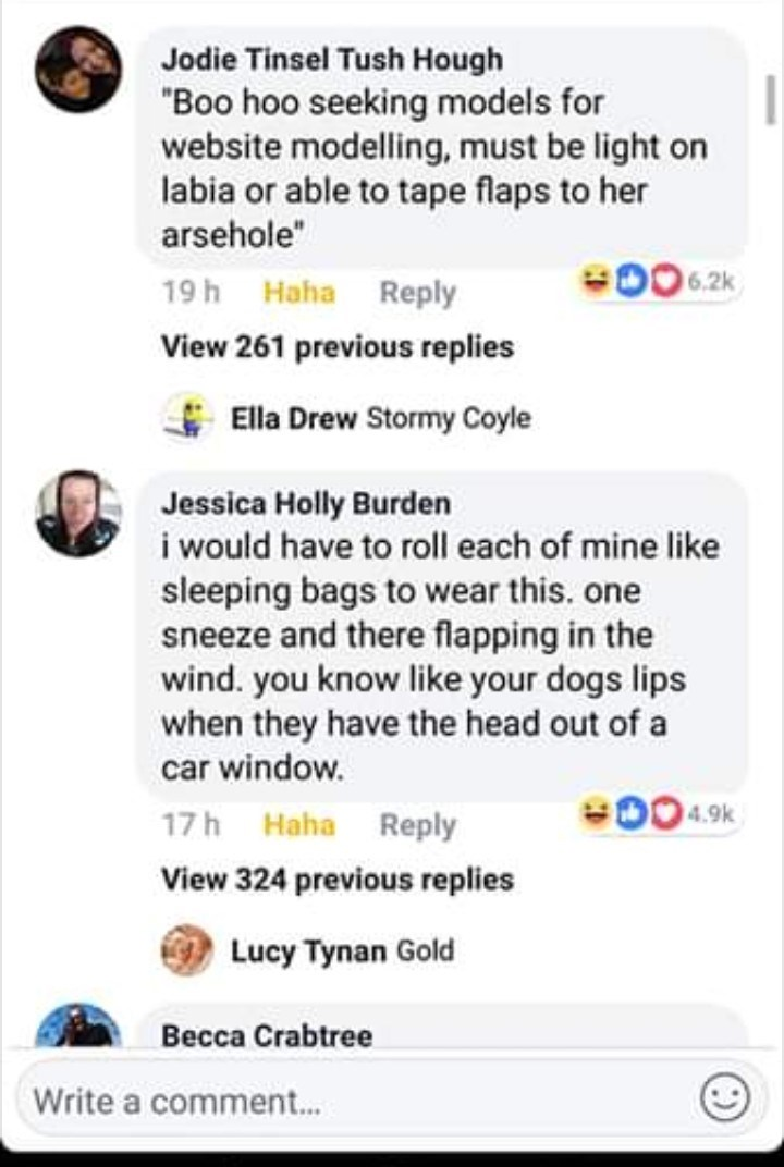 """Text - Jodie Tinsel Tush Hough """"Boo hoo seeking models for website modelling, must be light on labia or able to tape flaps to her arsehole"""" 6.2k 19 h Haha Reply View 261 previous replies Ella Drew Stormy Coyle Jessica Holly Burden i would have to roll each of mine like sleeping bags to wear this. one sneeze and there flapping in the wind. you know like your dogs lips when they have the head out of a car window. 4.9k 17 h Haha Reply View 324 previous replies Lucy Tynan Gold Becca Crabtree Write a"""