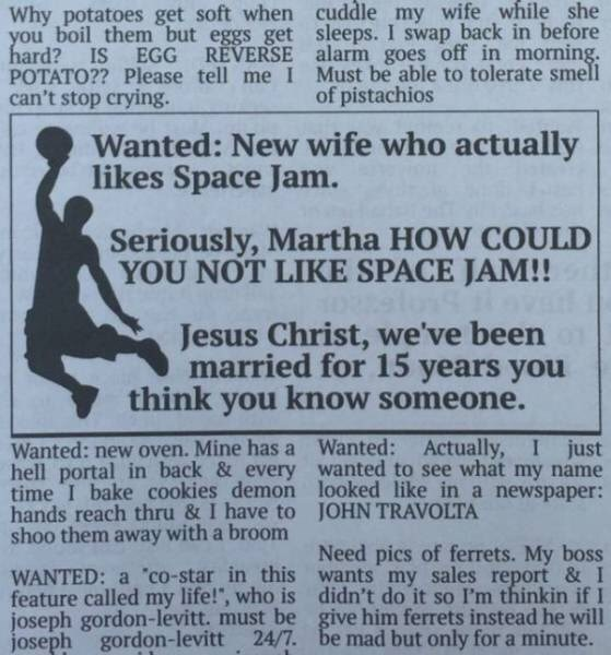 wholesome meme of a newspaper ad looking for a new wife
