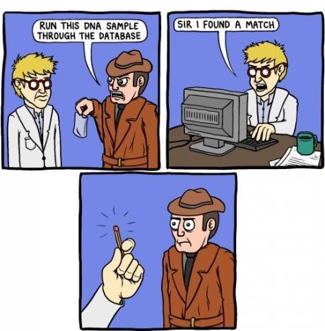 wholesome meme of a dna sample with a funny detective