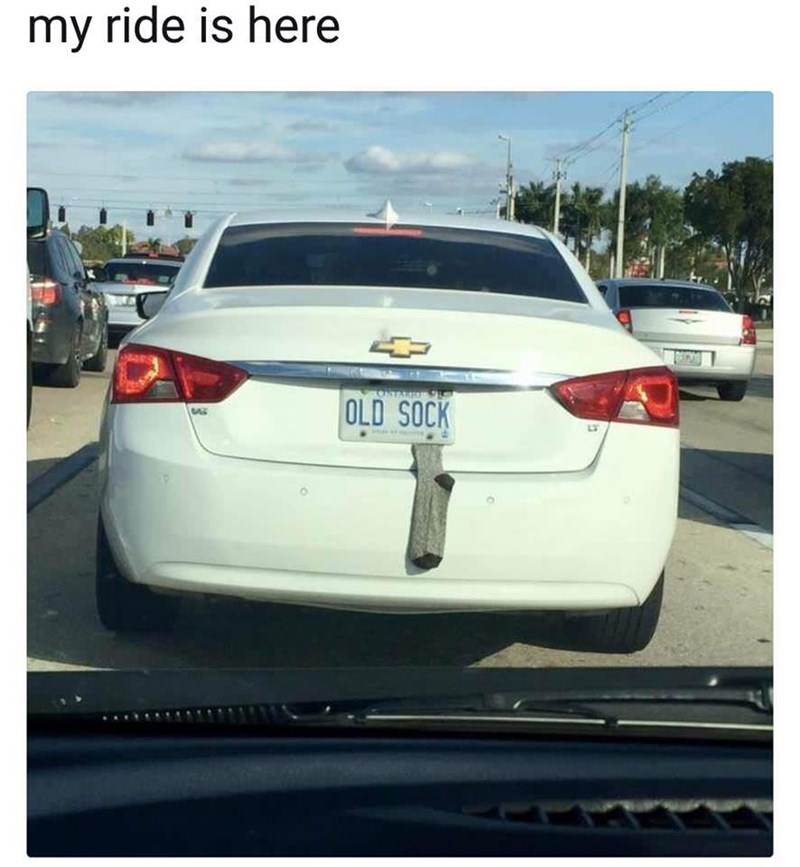 wholesome meme of a cars license plate that says old sock and an actual sock underneath it