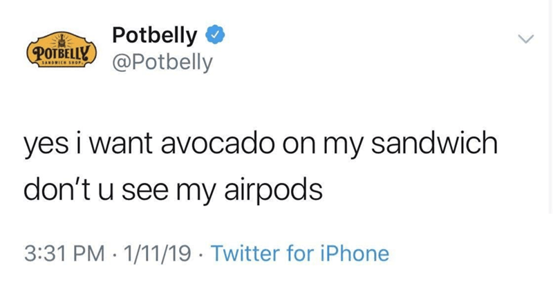 wholesome meme of putting avocados on sandwiches for people wearing airpods