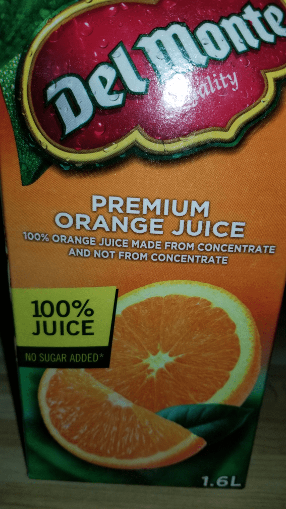 Grapefruit - Delmonte ality PREMIUM ORANGE JUICE 10% ORANGE JUICE MADE FROM CONCENTRATE AND NOT FROM CONCENTRATE 100% JUICE NO SUGAR ADDED* 1.6L