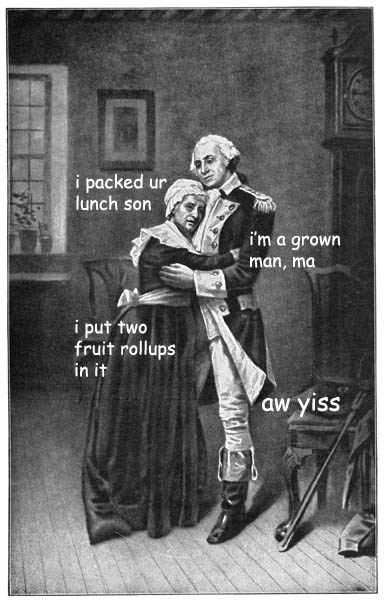 Painting of George and Martha Washington hugging; Martha says she packed his lunch and that she packed two fruit rollups