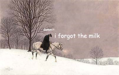 """Painting of George Washington on a horse looking sad, appearing to say """"Dammit, I forgot the milk"""""""