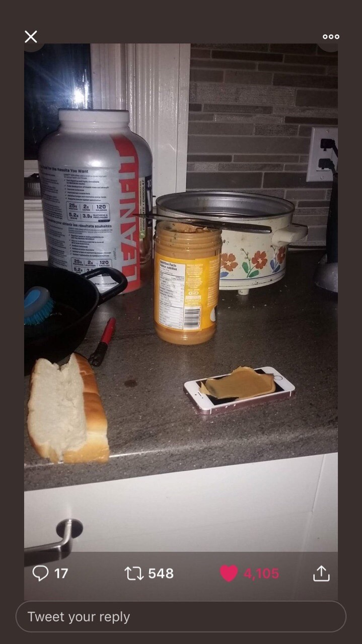 picture of peanut butter on mobile phone instead of on bread beside it twitter post getting high