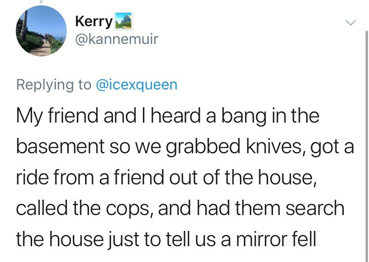 twitter post getting high My friend and l heard a bang in the basement so we grabbed knives, got a ride from a friend out of the house, called the cops, and had them search the house just to tell us a mirror fell