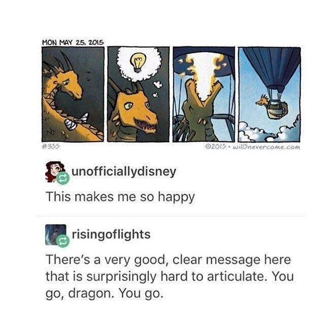 wholesome meme of a dragon that used his strengths to find a solution to not having wings