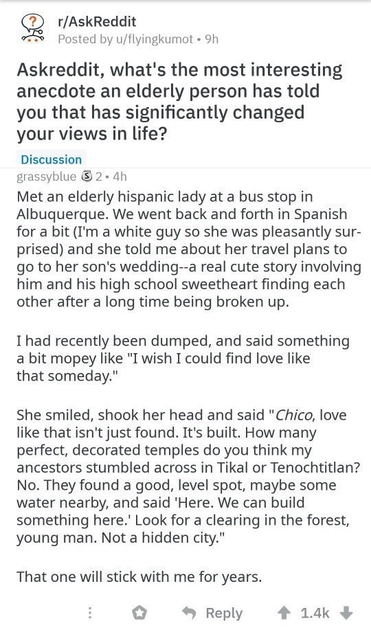 wholesome meme about an anecdote from an elderly person that changed a life