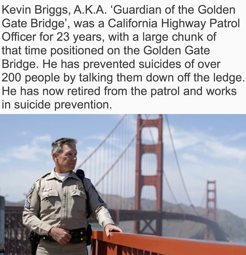 wholesome meme of a police officer who has prevented suicides on the golden gate bridge