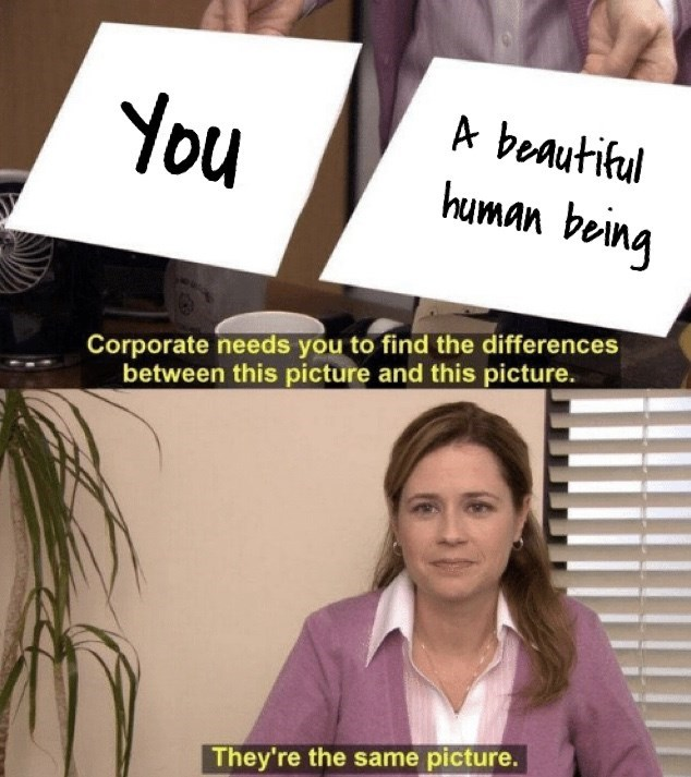 wholesome meme with pam from the office and calling you a beautiful human being