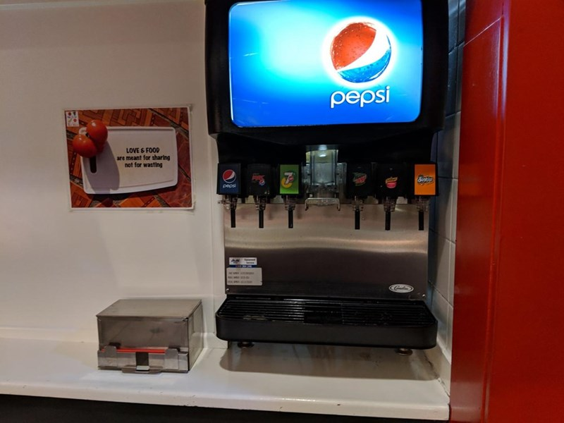 Machine - pepsi LOVE &FOOD are meant for sharing not for wasting pepsi
