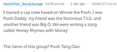 Text - edited 23 hours NachOMan_RandySavage 24.8k points 1 day ago I started a rap crew based on Winnie the Pooh. I was Pooh Daddy, my friend was the Notorious T.I.G. and another friend was Big O. We were writing a song called 'Honey Rhymes with Money The name of this group? Pooh Tang Clan.