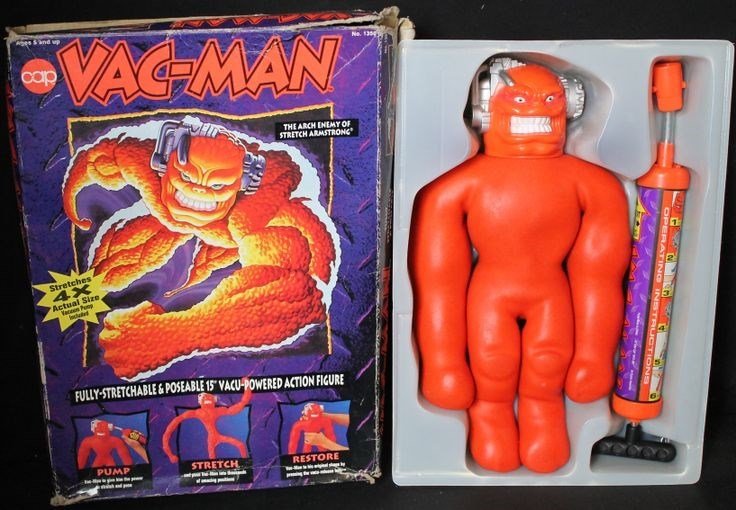 """nostalgia - Toy - ges &nd up VAC-MAN Ne. 130 cap THE ARCH ENEMY OF STRETCH ARMSTRONC Stretches 4X Actual Size Vaco Pan ed FULLY-STRETCHABLE&POSEABLE 15"""" VACU-POWERED ACTION FIGURE PUMP STRETCH RESTORE OPERATING INSTRUCTIONS"""