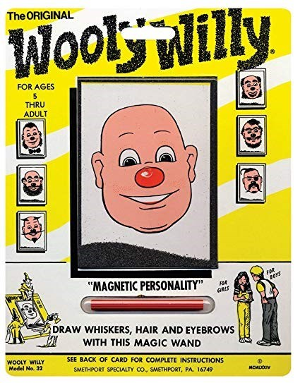 """nostalgia - Yellow - The ORIGINAL Wooly Willy FOR AGES 5 THRU ADULT FOR """"MAGNETIC PERSONALITY"""" GRLS DRAW WHISKERS, HAIR AND EYEBROWS WITH THIS MAGIC WAND SEE BACK OF CARD FOR COMPLETE INSTRUCTIONS WOOLY WILLY Model No. 32 SMETHPORT SPECIALTY CO, SMETHPORT, PA 16749 MCMLOUY"""