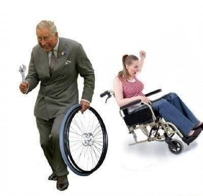 Stock photo of an old guy stealing a wheel from a woman's wheel chair