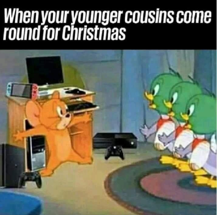 meme - Cartoon - When your younger cousins come round for Christmas
