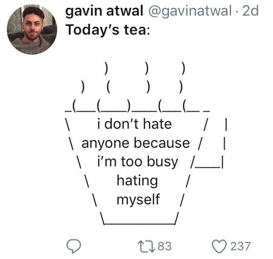 twitter ASCII-art hot teai don't hate anyone because / | i'm too busy hating | myself