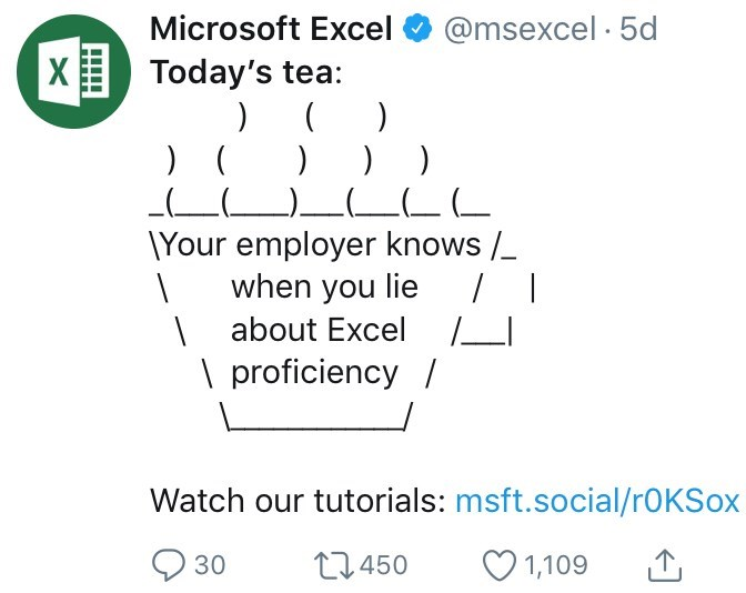 twitter ASCII-art hot tea Your employer knows when you lie | about Excel \ proficiency