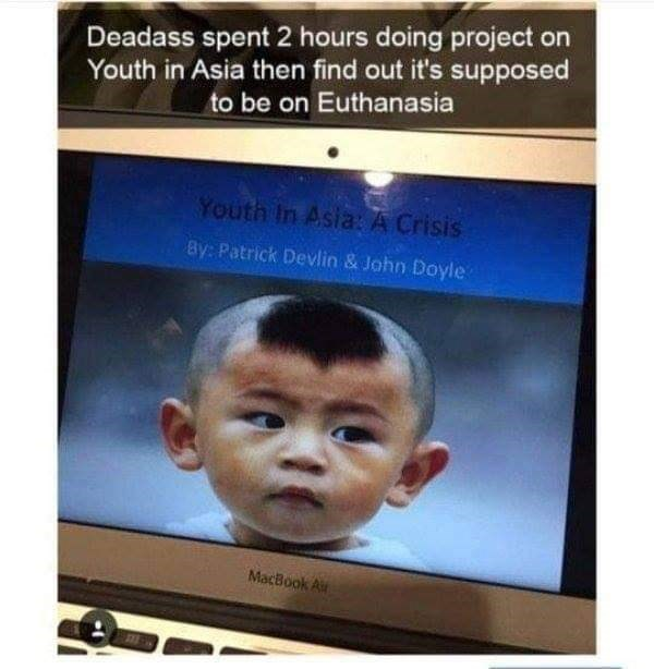 Face - Deadass spent 2 hours doing project on Youth in Asia then find out it's supposed to be on Euthanasia Youth In Asia: A Crisis By: Patrick Devlin & John Doyle MacBook A