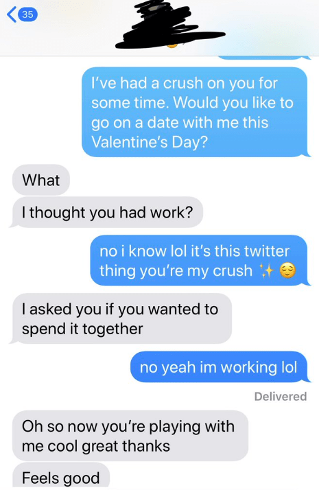 Text - 35 I've had a crush on you for some time. Would you like to go on a date with me this Valentine's Day? What I thought you had work? no i know lol it's this twitter thing you're my crush I asked you if you wanted to spend it together no yeah im working lol Delivered Oh so now you're playing with me cool great thanks Feels good